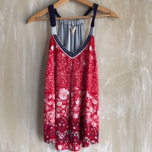 Tops - Printed swing tank top red white and blue